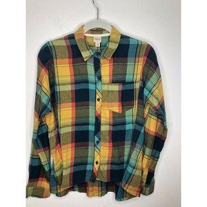 Mossimo Medium Flannel Yellow Button Down Shirt